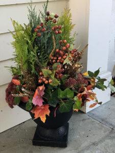 autumn planting arrangement in urn trout lily garden design bedford hills ny