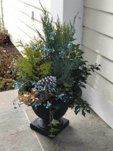 urn with autumn plantings trout lily garden design chappaqua ny