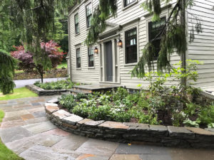 planted garden areas along slate walkway and wall red and purple flowers amid various green grasses tiered public garden trout lily garden design mount kisco westchester ny
